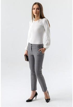 Jument 2447 Gri Ekose Kadın Pantolon