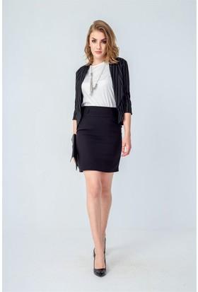Jument 3897 Siyah Çizgi Kadın Ceket