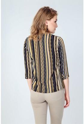 Jument 3950 Haki Kalın Çizgi Kadın Bluz
