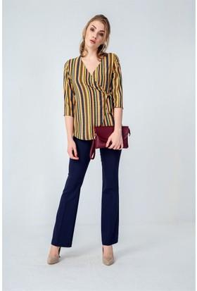 Jument 3962 Yeşil Çizgi Kadın Bluz