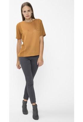 Xint Yuvarlak Yaka Tarçın Renk Bluz