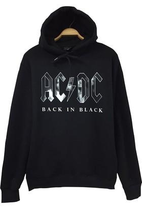 Stoned Ac Dc Baskılı Unisex Kapşonlu Siyah Sweatshirt
