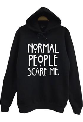 Stoned Normal People Scare Me Baskılı Unisex Kapşonlu Siyah Sweatshirt