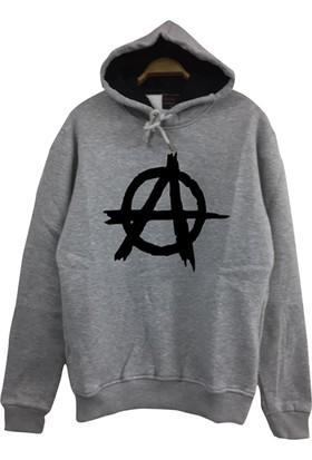 Stoned Anarchy Baskılı Unisex Kapşonlu Gri Sweatshirt