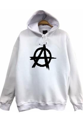 Stoned Anarchy Baskılı Unisex Kapşonlu Beyaz Sweatshirt