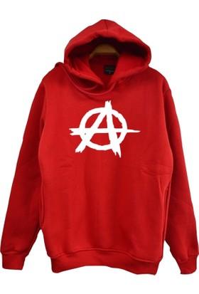Stoned Anarchy Baskılı Unisex Kapşonlu Kırmızı Sweatshirt