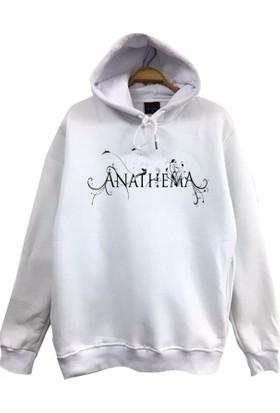 Stoned Anathema Baskılı Unisex Kapşonlu Beyaz Sweatshirt