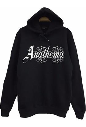 Stoned Anathema Baskılı Unisex Kapşonlu Siyah Sweatshirt