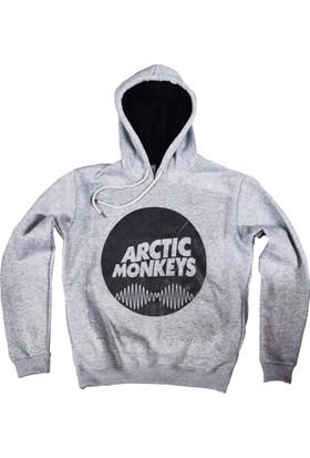 Stoned Arctic Monkeys Baskılı Unisex Kapşonlu Gri Sweatshirt