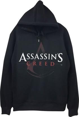 Stoned Assassin'S Cread Baskılı Kapşonlu Siyah Unisex Sweatshirt