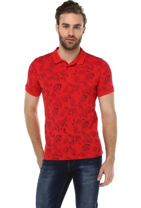 Brango 40131-5 Enigma Desenli Polo Yaka Kırmızı T-Shirt