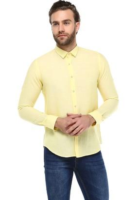 Brango 12581-1 Dar Kesim Düz Pamuk Keten Sarı Gömlek