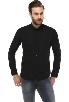 Brango 12633-2 Dar Kesim Desenli Siyah Gömlek