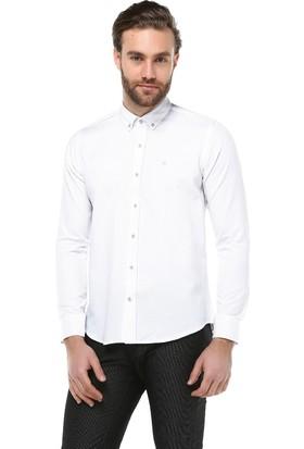 Brango 12634-6 Dar Kesim Desenli Beyaz Gömlek