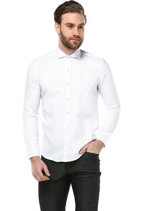 Brango 12638-5 Dar Kesim Desenli Beyaz Gömlek