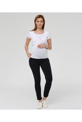 Hooyo Emzirme Özellikli Beyaz Hamile T-Shirt Alya
