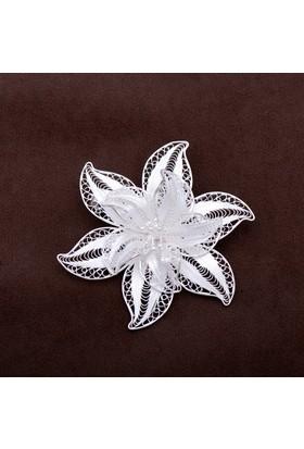 Sümer Telkari Rozet Çiçeği Telkari Elişi Gümüş Broş 111