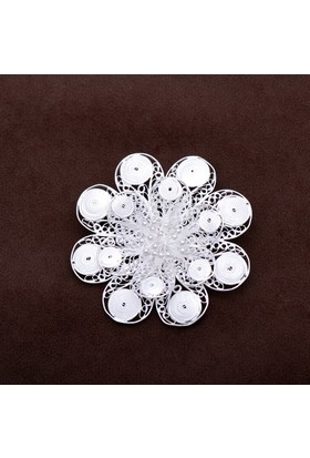 Sümer Telkari Gardenya Çiçeği Telkari Elişi Gümüş Broş 113