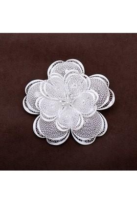 Sümer Telkari Mine Çiçeği Telkari Elişi Gümüş Broş 114