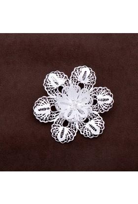 Sümer Telkari Manolya Çiçeği Talkari Elişi Gümüş Broş 123