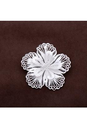 Sümer Telkari Açelya Çiçeği Telkari Elişi Gümüş Broş 125