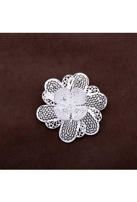 Sümer Telkari Sardunya Çiçeği Telkari Elişi Gümüş Broş 129