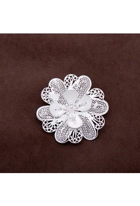 Sümer Telkari Sardunya Çiçeği Telkari Elişi Gümüş Broş 132