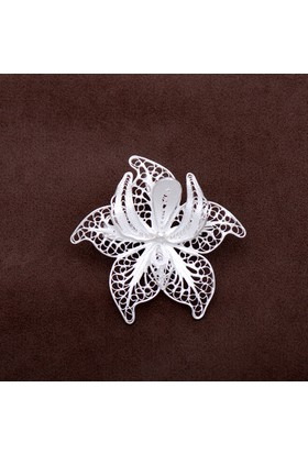 Sümer Telkari Süsen Çiçeği Talkari Elişi Gümüş Broş 133