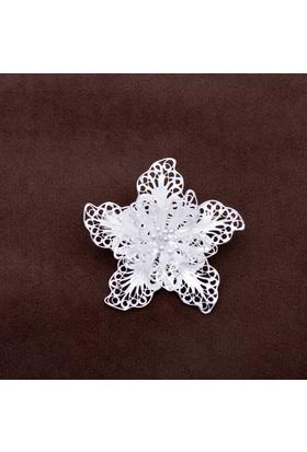 Sümer Telkari Açelya Çiçeği Telkari Elişi Gümüş Broş 134