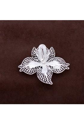Sümer Telkari Orkide Çiçeği Telkari Elişi Gümüş Broş 135