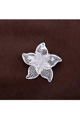 Sümer Telkari Açelya Çiçeği Telkari Elişi Gümüş Broş 140