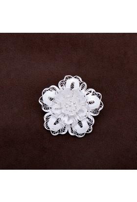 Sümer Telkari Kamelya Çiçeği Telkari Elişi Gümüş Broş 141
