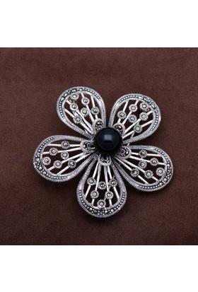Sümer Telkari Gelincik Çiçeği Markazit Taşlı Gümüş Broş 146