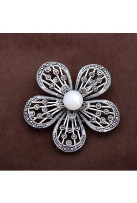 Sümer Telkari Gelincik Çiçeği Markazit Taşlı Gümüş Broş 147