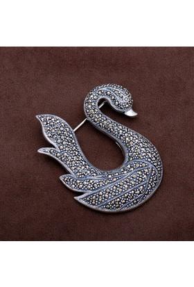 Sümer Telkari Kuğu Tasarım Markazit Taşlı Gümüş Broş 149