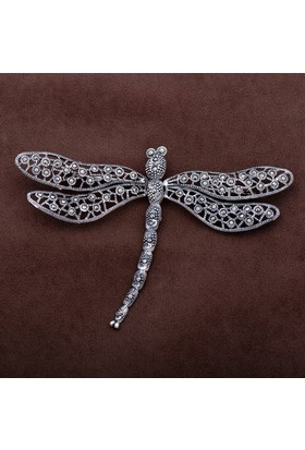 Sümer Telkari Yusufçuk Tasarım Markazit Taşlı Gümüş Broş 152