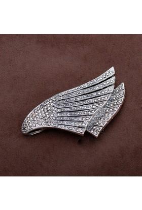 Sümer Telkari Tasarım Markazit Taşlı Gümüş Broş 159