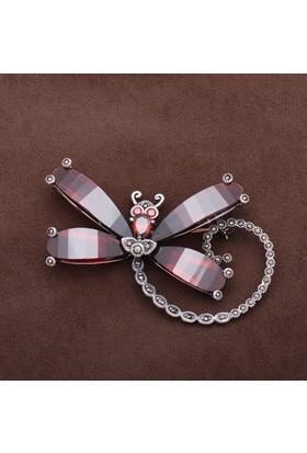 Sümer Telkari Yusufçuk Tasarım Markazit Taşlı Gümüş Broş 160