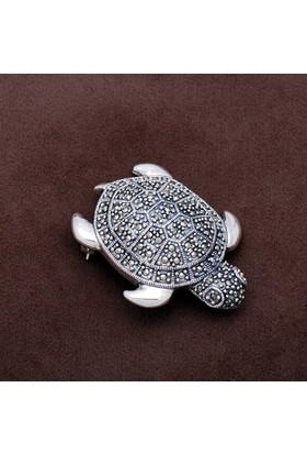 Sümer Telkari Kaplumbağa Tasarım Markazit Taşlı Gümüş Broş 166