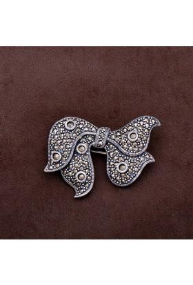 Sümer Telkari Fiyonk Tasarım Markazit Taşlı Gümüş Broş 169