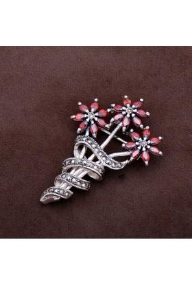 Sümer Telkari Çiçek Demeti Tasarım Markazit Taşlı Gümüş Broş 172