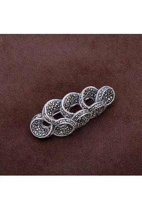 Sümer Telkari Tasarım Markazit Taşlı Gümüş Broş 173