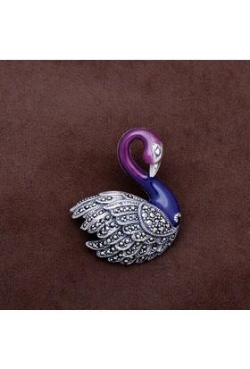 Sümer Telkari Kuğu Tasarım Markazit Taşlı Gümüş Broş 176