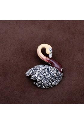 Sümer Telkari Kuğu Tasarım Markazit Taşlı Gümüş Broş 177