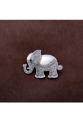 Sümer Telkari Fil Tasarım Markazit Taşlı Gümüş Broş 183