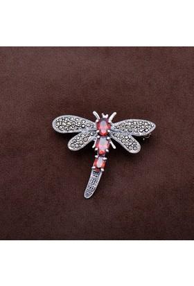 Sümer Telkari Yusufçuk Tasarım Markazit Taşlı Gümüş Broş 185
