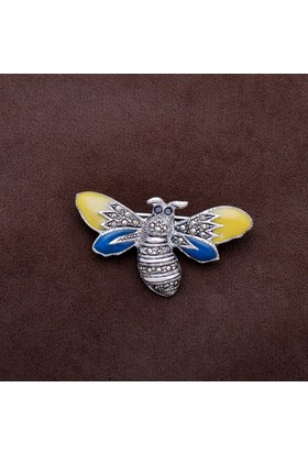 Sümer Telkari Yusufçuk Tasarım Markazit Taşlı Gümüş Broş 187