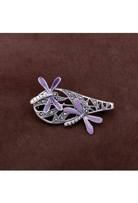 Sümer Telkari Yusufçuk Tasarım Markazit Taşlı Gümüş Broş 191