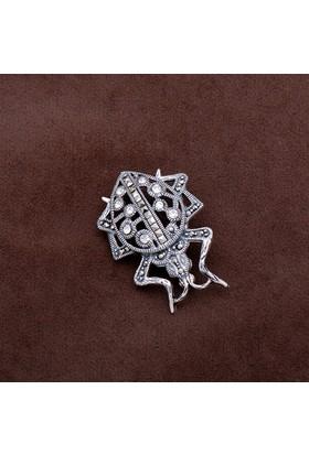 Sümer Telkari Uğur Böcekli Tasarım Markazit Taşlı Gümüş Broş 192