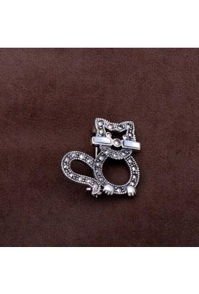 Sümer Telkari Kedi Tasarım Markazit Taşlı Gümüş Broş 194